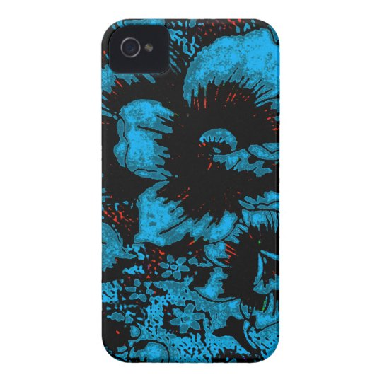 Turquoise Blue Floral iPhone 4/4s Case
