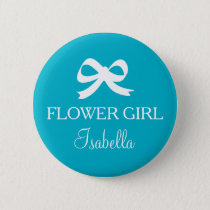 Turquoise blue Flower girl button for wedding