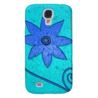 turquoise blue flower samsung galaxy s4 case