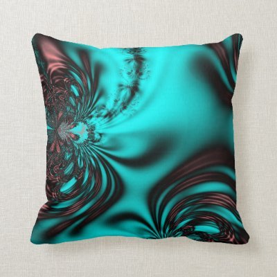 Turquoise Blue Fractal Throw Pillow