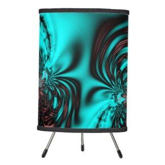 Turquoise Blue Fractal Tripod Lamp