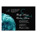 Turquoise Blue Frilly Rose Wedding Invitation