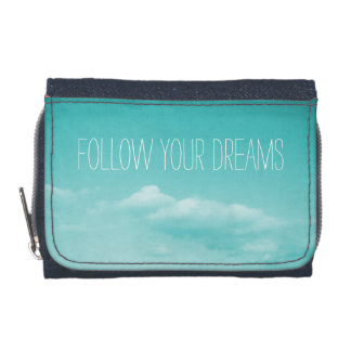 Turquoise blue girls wallet | Follow your dreams