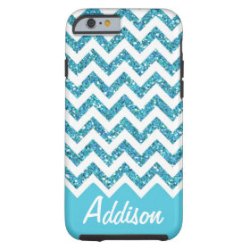 Turquoise Blue Glitter Chevron Name BLING Case Tough iPhone 6 Case