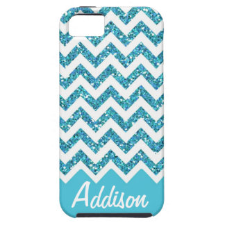 Turquoise Blue Glitter Chevron Name BLING Case