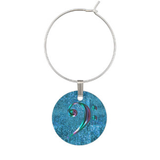 Turquoise Blue Glitter Colorful Music Bass Clef Wine Charm