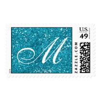 Turquoise Blue Glitter  Custom Monogram Postage