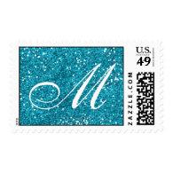 Turquoise Blue Glitter  Custom Monogram Postage Stamp