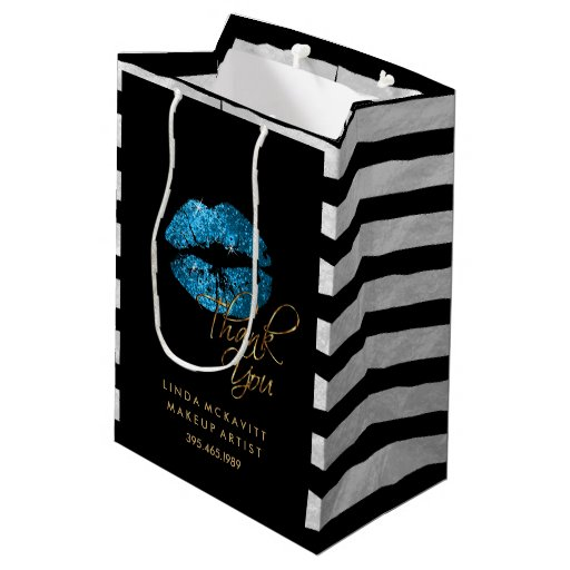 Turquoise Blue Glitter Lips & Black Stripes Medium Gift Bag