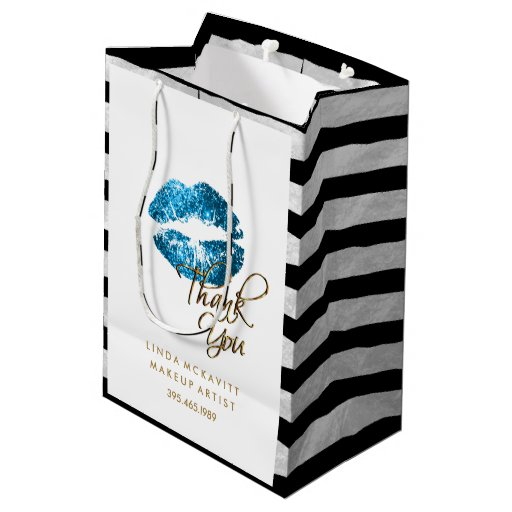 Turquoise Blue Glitter Lips & White Stripes Medium Gift Bag