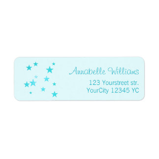 Turquoise blue glitter stars return address labels