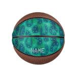Turquoise Blue Glowing Cheetah Basketball