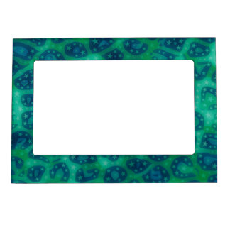 Turquoise Blue Glowing Cheetah Magnetic Photo Frame