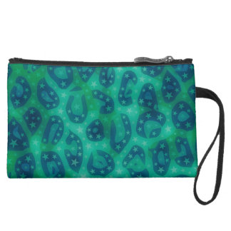 Turquoise Blue Glowing Cheetah Suede Wristlet Wallet