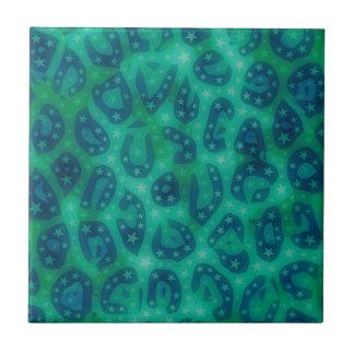 Turquoise Blue Glowing Cheetah Tile