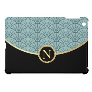 Turquoise Blue Gold Monogram Damask Pattern iPad Mini Case