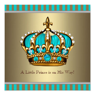 Turquoise Blue Gold Prince Baby Shower Card