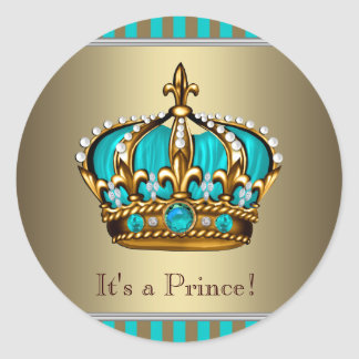 Turquoise Blue Gold Prince Baby Shower Stickers