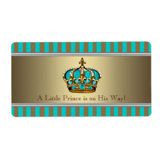 Turquoise Blue Gold Prince Water Bottle Labels