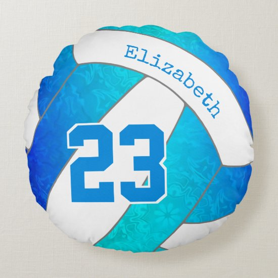 turquoise blue gradient artsy girls volleyball round pillow