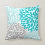 "Turquoise blue Gray Dahlia mod decor sofa pillow<br><div class=""desc"">Adding colorful pillows to your room is one of the easiest (and least expensive!) ways to updated a room.  Coordinating items available in our store.  Contact designer for assistance.</div>"