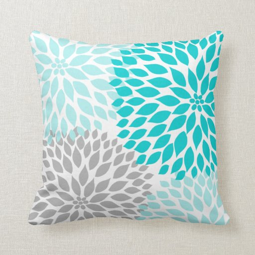 Turquoise blue gray dahlia mod decor sofa pillow zazzle for Turquoise couch pillows
