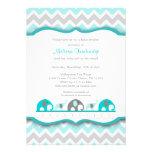 Turquoise blue & gray elephant Baby Shower Invites