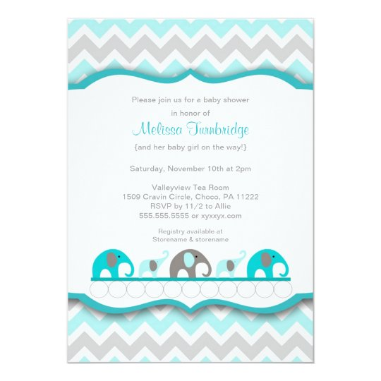 Turquoise blue & gray elephant Baby Shower Invites | Zazzle