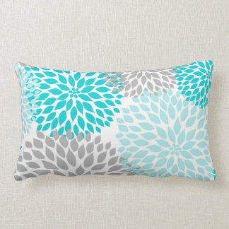 Turquoise Blue Gray Floral Dahlias Mums pillow