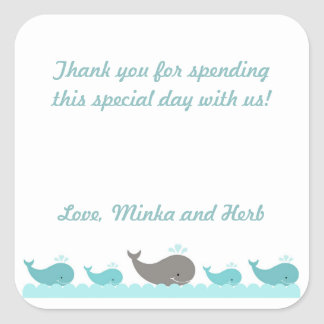 Turquoise Blue Gray Whale Baby Shower Party Favor Square Sticker