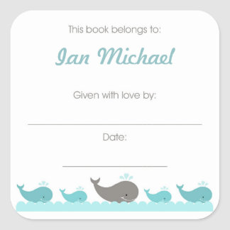 Turquoise blue & gray Whales Book Plate bookplates Square Sticker