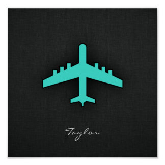 Turquoise; Blue Green Airplane Poster