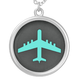 Turquoise; Blue Green Airplane Silver Plated Necklace