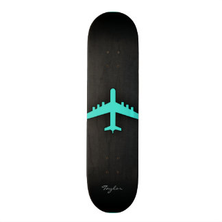 Turquoise; Blue Green Airplane Skateboard Deck