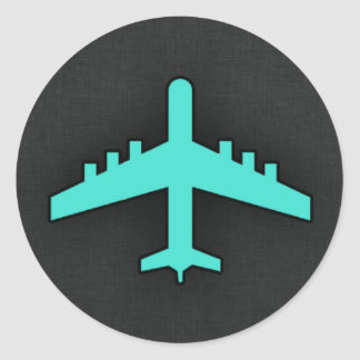 Turquoise; Blue Green Airplane Round Sticker