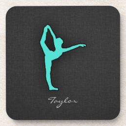 Turquoise; Blue Green Ballet Dancer Beverage Coaster