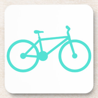 Turquoise; Blue Green Bicycle Beverage Coaster