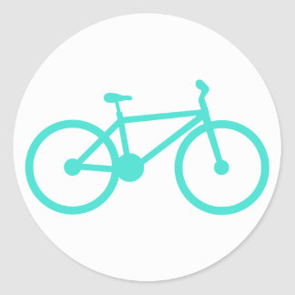 Turquoise; Blue Green Bicycle Classic Round Sticker