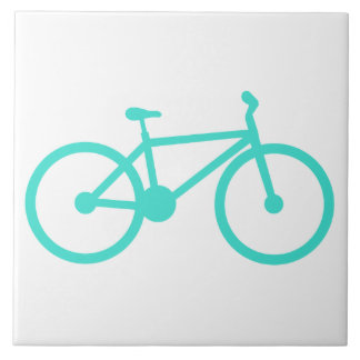 Turquoise; Blue Green Bicycle Large Square Tile