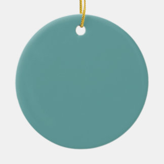 Turquoise blue-green bold Double-Sided ceramic round christmas ornament