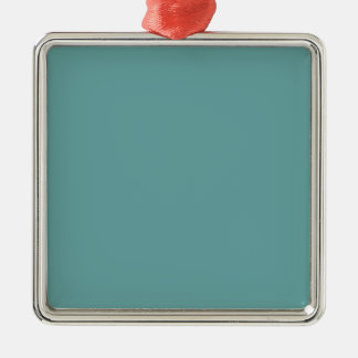 Turquoise blue-green bold square metal christmas ornament