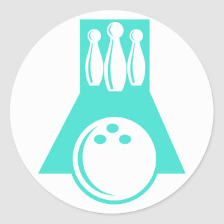 Turquoise; Blue Green Bowling Classic Round Sticker