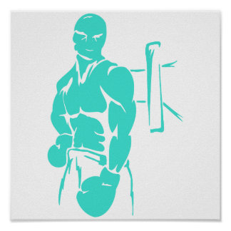Turquoise; Blue Green Boxing Poster