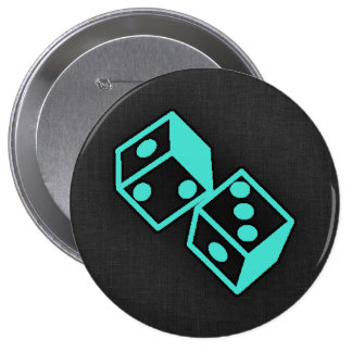 Turquoise, Blue-Green Casino Dice 4 Inch Round Button