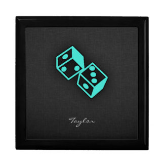 Turquoise, Blue-Green Casino Dice Jewelry Box