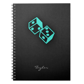 Turquoise, Blue-Green Casino Dice Notebook