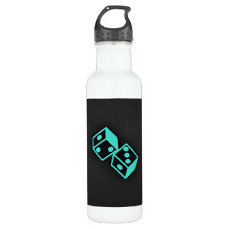 Turquoise, Blue-Green Casino Dice Stainless Steel Water Bottle
