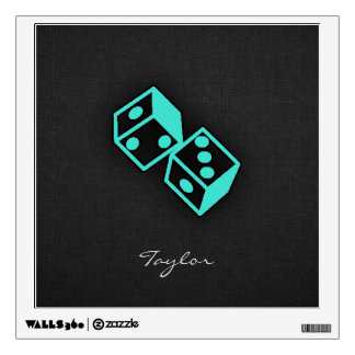 Turquoise, Blue-Green Casino Dice Wall Graphic