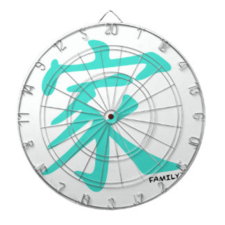 Turquoise, Blue-Green Chinese Family Character Dart Boards