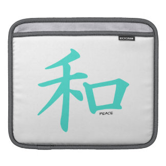 Turquoise, Blue-Green Chinese Peace Sign Sleeve For iPads